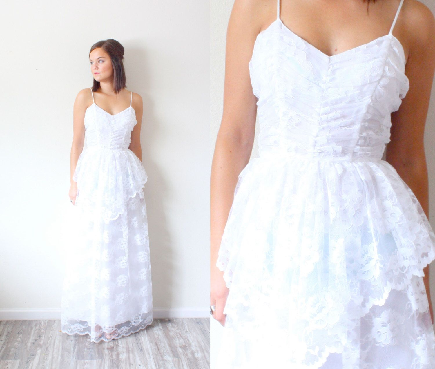 Retro wedding dress  Vintage Wedding dress  All lace wedding dress  Floor length