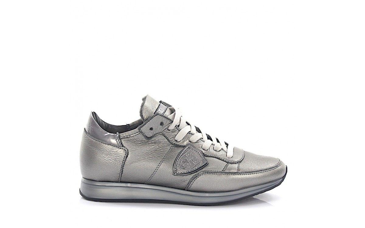 Sneakers TROPEZ LOW leather grey glitter lambskin Philippe Model I8yy08