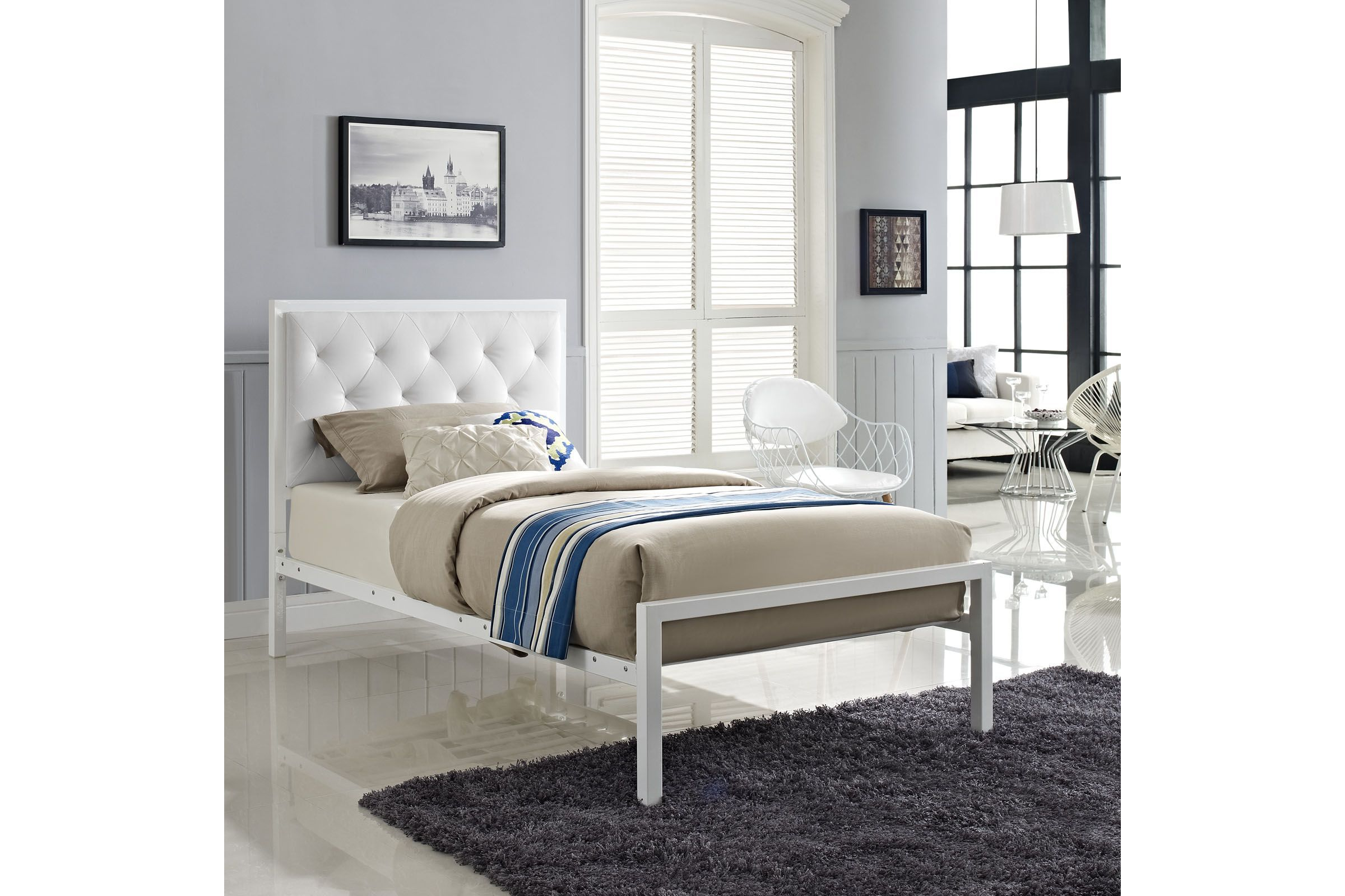 Mia Twin Vinyl Bed By Modway Bed Frame Headboard Bedroom