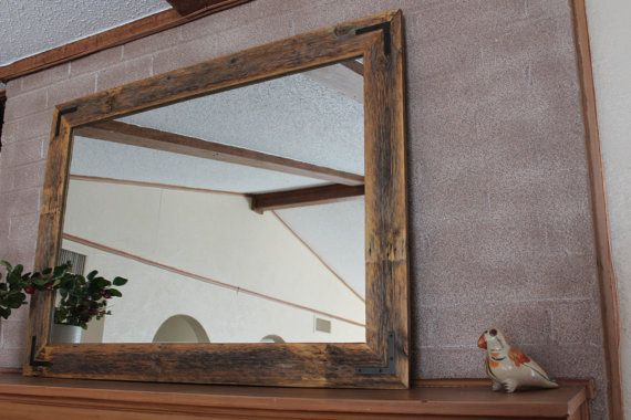 rustic wall mirror - large wall mirror - 42 x 30 vanity mirror