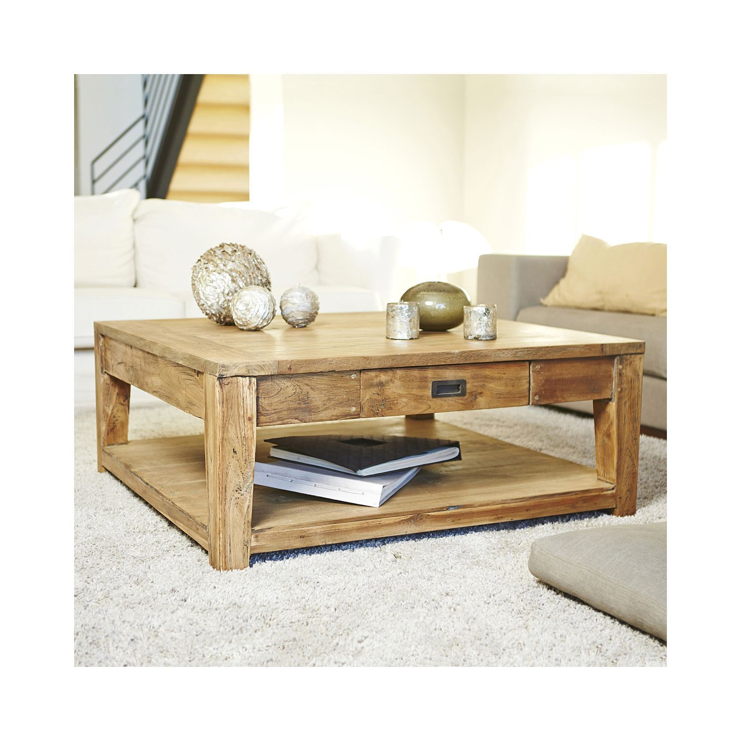 Garden And Co Table Basse Carree Teck Recycle 100cm Naturel 42