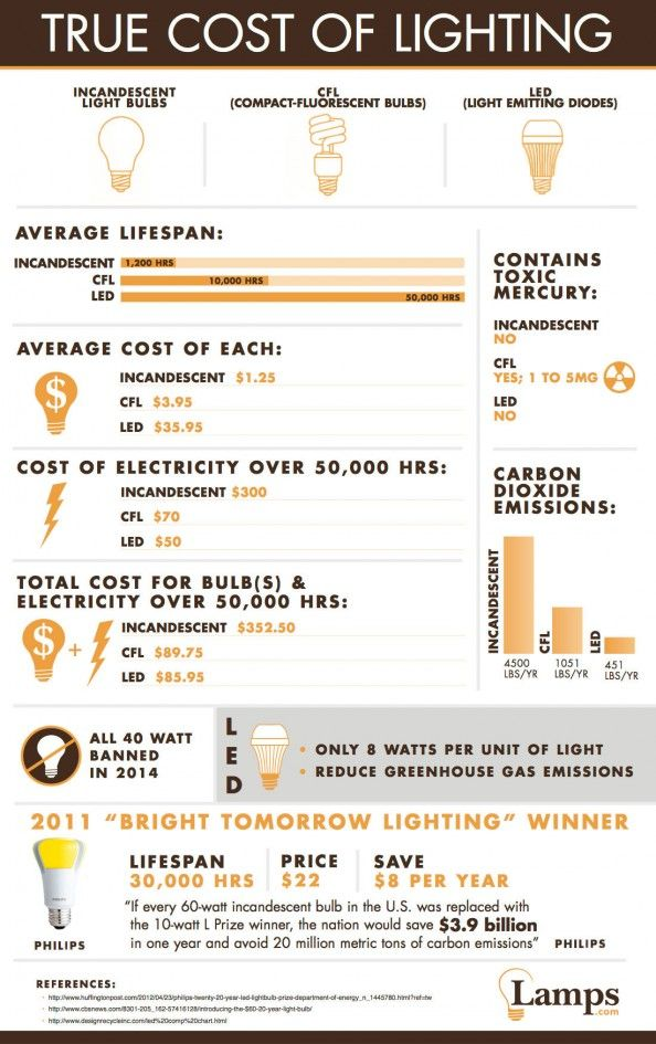 True Cost Of Lighting Energy Efficient Light Bulbs Energy Efficient Lighting Energy Efficient Homes