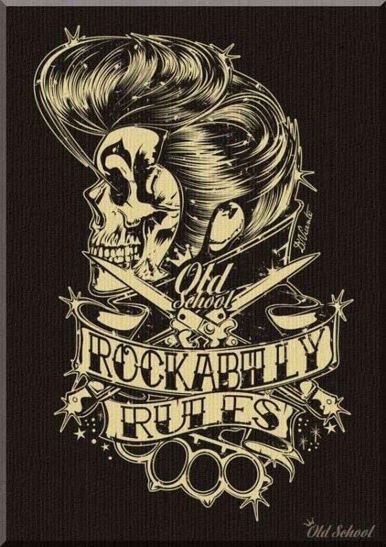 Old School Rockabilly Rules Poster With Pompadour Skull