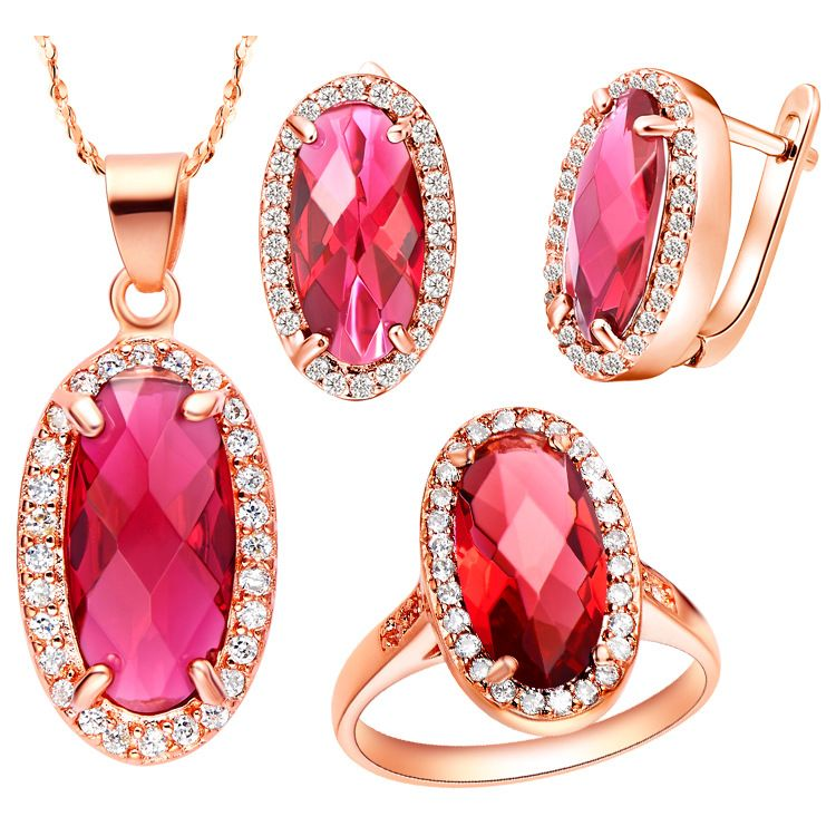 Ring Womens Necklace Earrings Jewelry Sets SA suit made Austria red