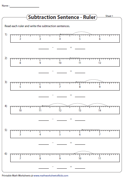 subtraction sentence ruler model  whats new  worksheets math  subtraction sentence ruler model