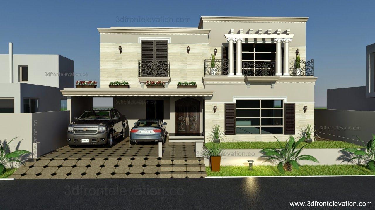 Elevation Plan In Spanish : Kanal spanish house design plan dha lahore pakistan