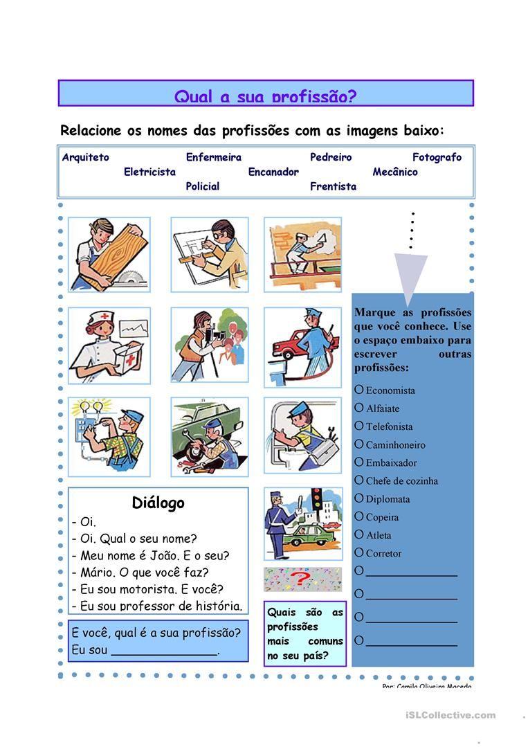 Qual A Sua Profissão Apostilas Apostilas De Português Gratuitas Curso De Portugues Aprender Portugues Aula De Português