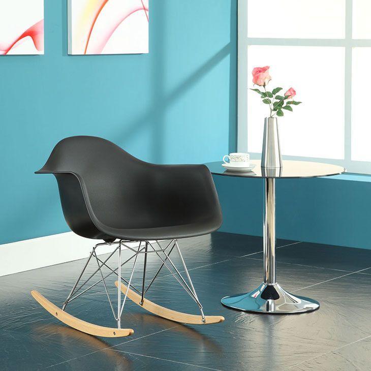 Rocker Lounge Chair In Black - EEI-147-BLK Free Shipping