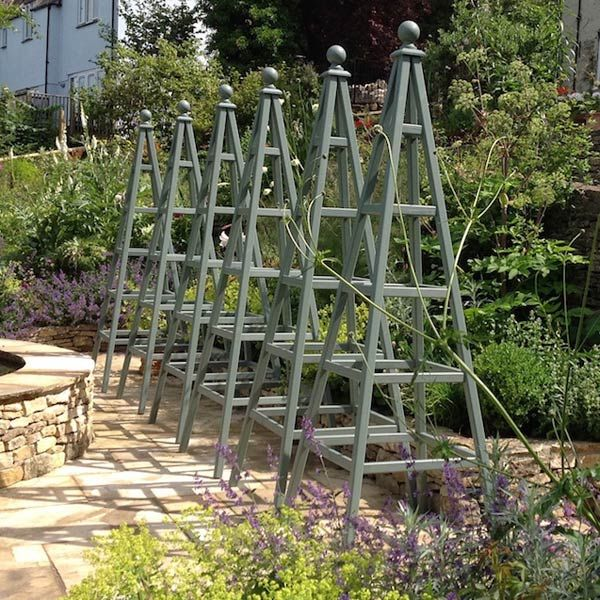 Painted Trellis Ideas Part - 44: 6 Wooden Garden Obelisks Painted Wild Thyme, Cuprinol Garden Shades