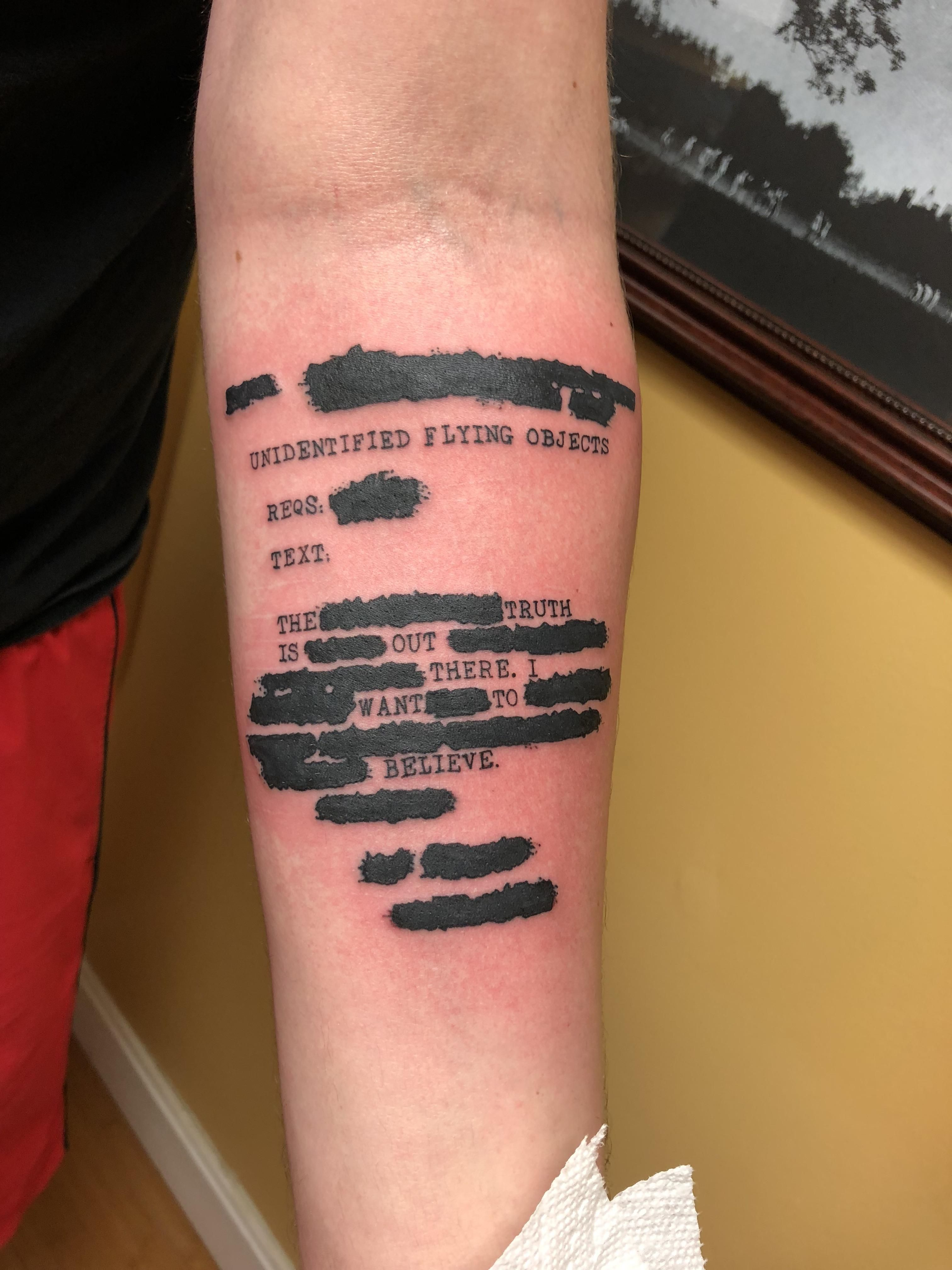 Small X Files Tattoo: Redacted My Freshly Inked X-Files Inspired Tattoo Done By