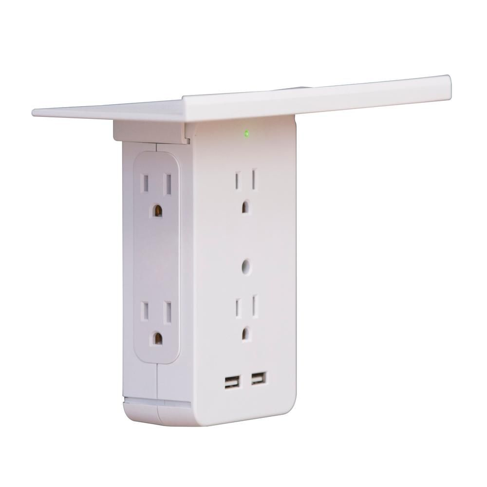 socket shelf cordless wall outlet extender with 6 outlets on wall outlet id=95707
