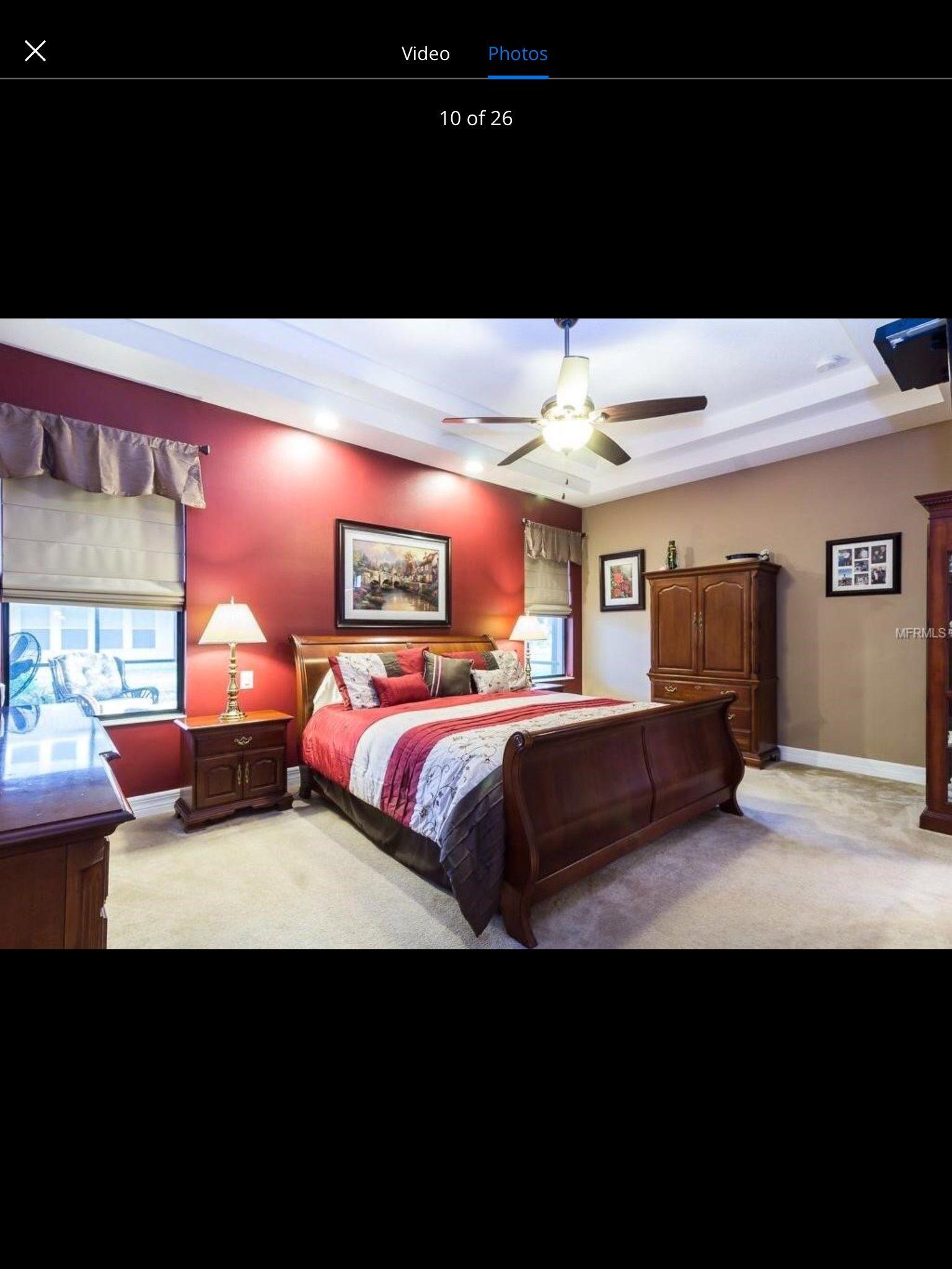 Best Burgundy Accent Wall In Master Bedroom Master Bedroom 400 x 300