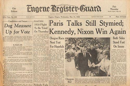 May 15 1968 Newspaper Rfk Senator Robert F Kennedy Nixon Presidential Campaign Newspapers History Guara