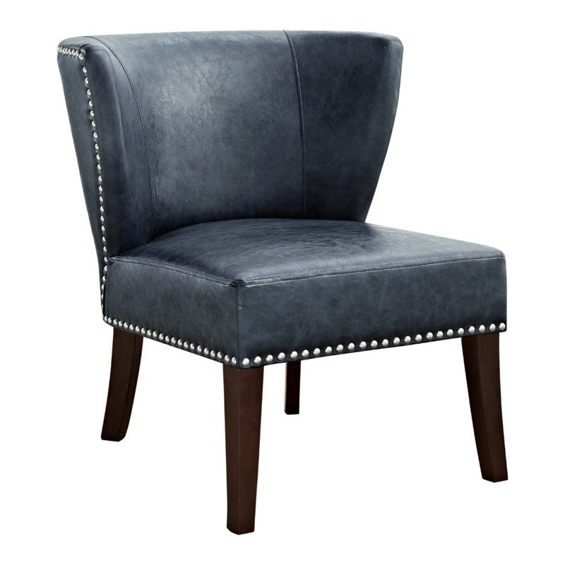 Best Simpli Home Jamestown Leather Accent Chair In Denim Blue 400 x 300