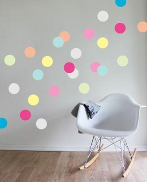 Dekoideen Kinderzimmer schöne dekoideen kinderzimmer wandsticker fargige punkte
