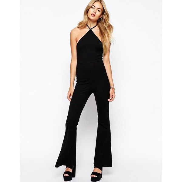 Motel Halter Unitard Jumpsuit With Flare Trouser (£14) ❤ liked on ...