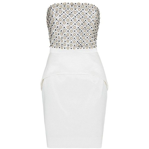Sass & Bide Around The Corner Embellished Strapless Dress (1,980 CAD) ❤ liked on Polyvore featuring dresses, ivory, winter white dress, white strapless cocktail dress, white dress, peplum dress and white fitted dress