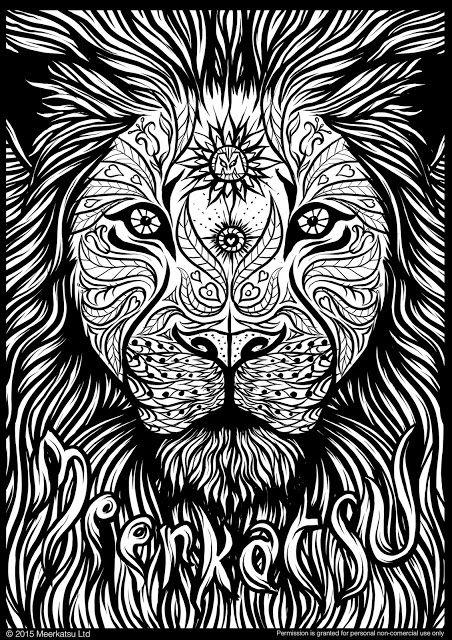 Meerkatsu art lion colouring