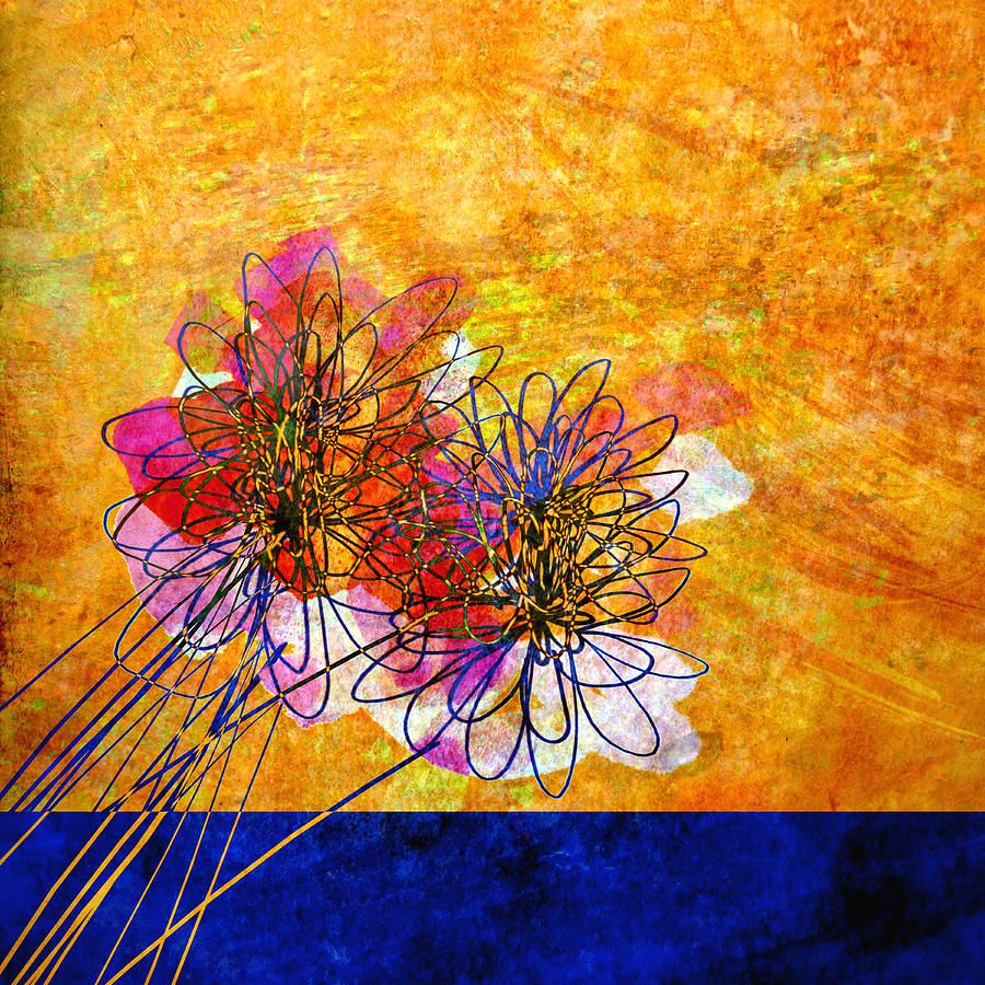 Abstract Flowers Orange And Blue | Blue painting, Painting ...