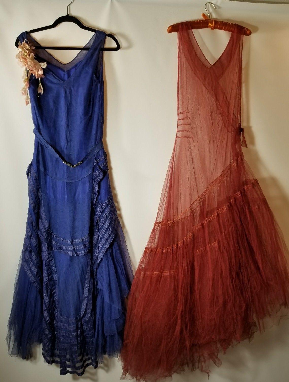 2 Antique 1930s Silk Net Dress, Vintage 20s 30s Tulle Gown, Blue ...