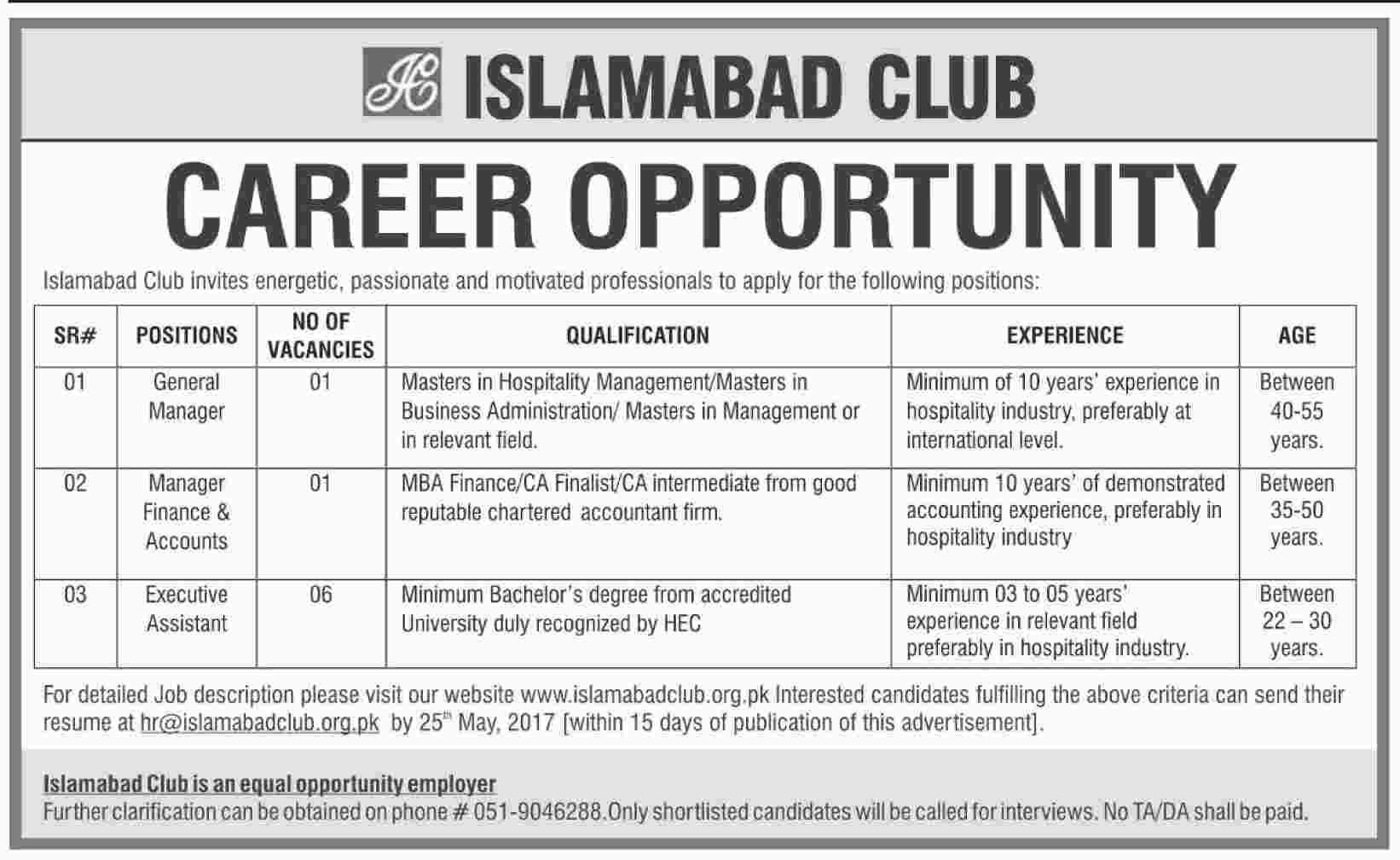 New Jobs In Islamabad Club  May   Jobs In Pakistan