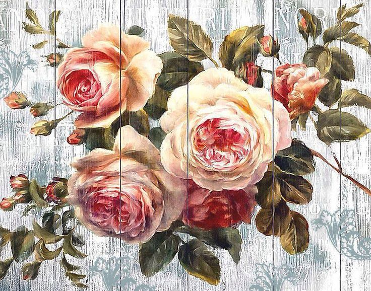 1000 Images About Decoupage On Pinterest Antigua Vintage Floral Wall Art Flower Wall Art Rose Art
