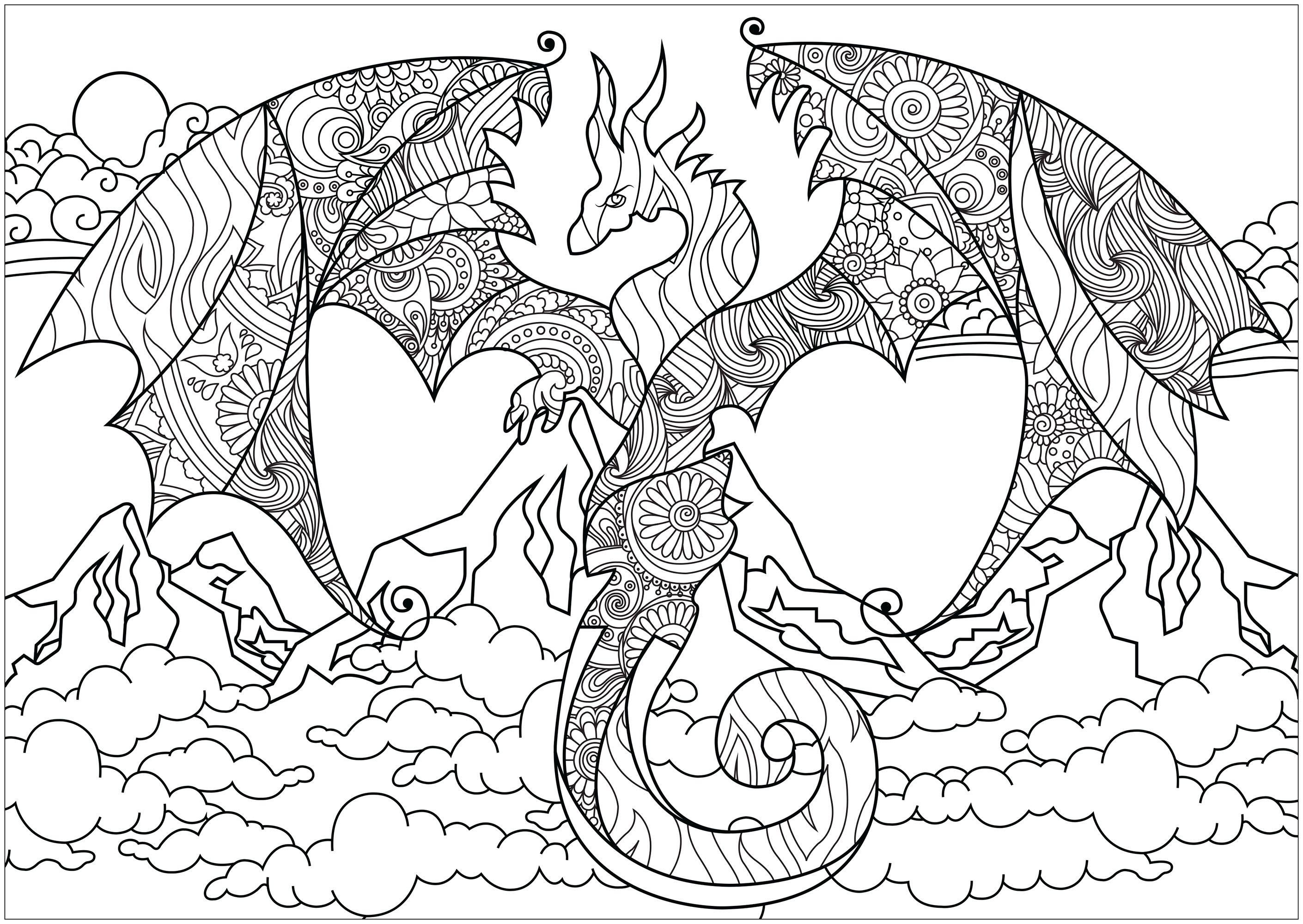 Arte Decorativo Drago Disegno Da Colorare