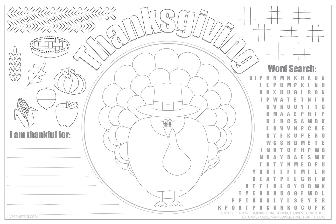 Printable Thanksgiving Placemat Kids Table Turkey Coloring Sheet