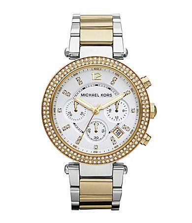 Michael Kors Parker Two Tone Chronograph Watch.. Want so bad! Def adding this to my collection soon.