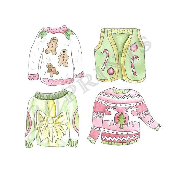 Ugly christmas sweater pink. Clipart party