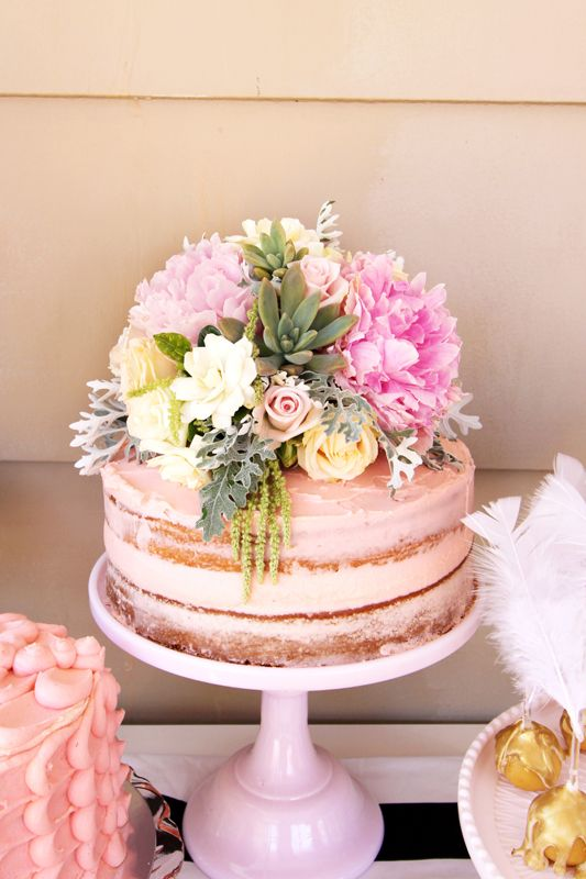 Naked Cake Floral 13th Birthday Parties Adult Party 30th