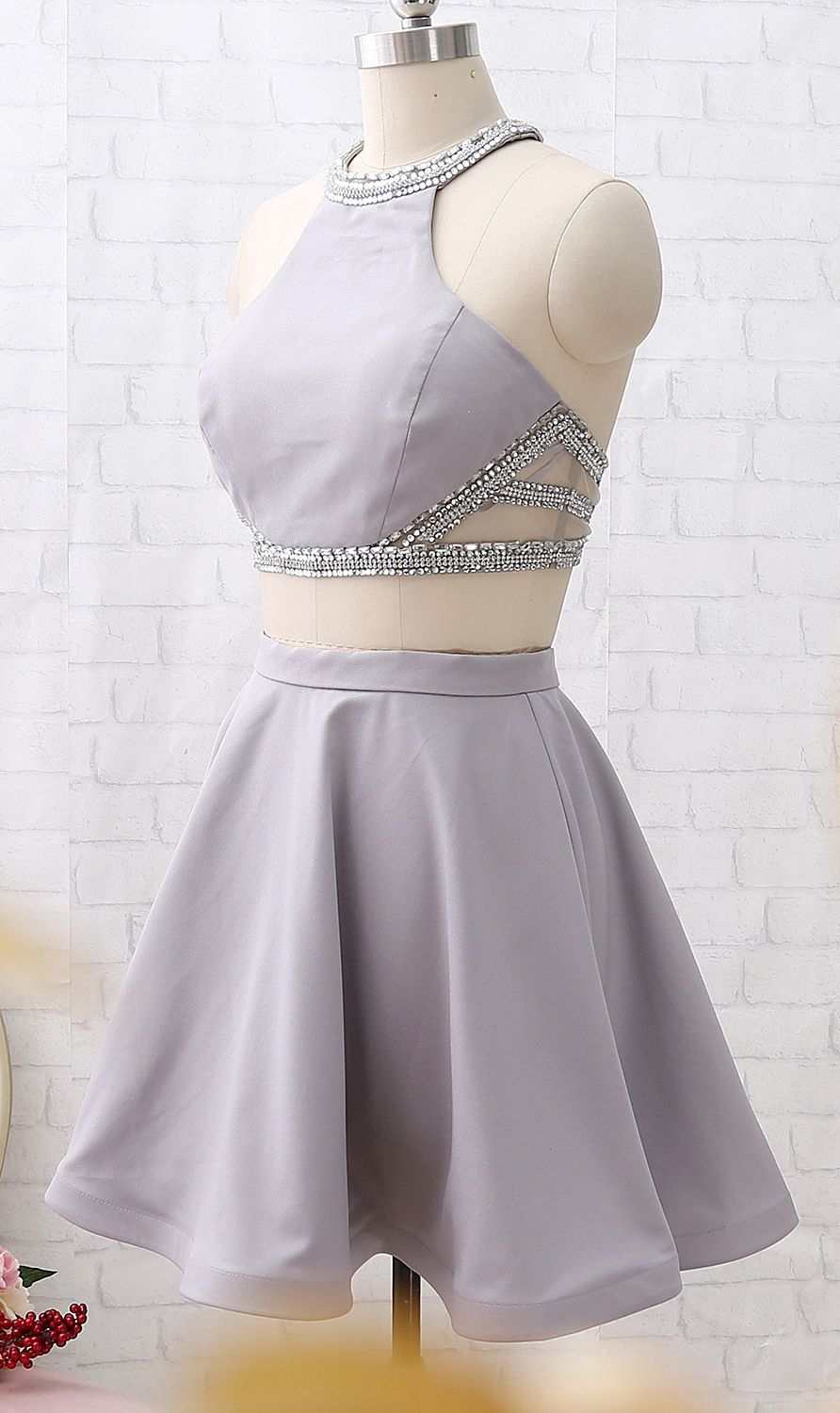 Macloth Two Piece Short Silver Mini Prom Homecoming Dress Wedding Party Dress Two Piece Homecoming Dress Mini Homecoming Dresses Homecoming Dresses [ 1500 x 892 Pixel ]