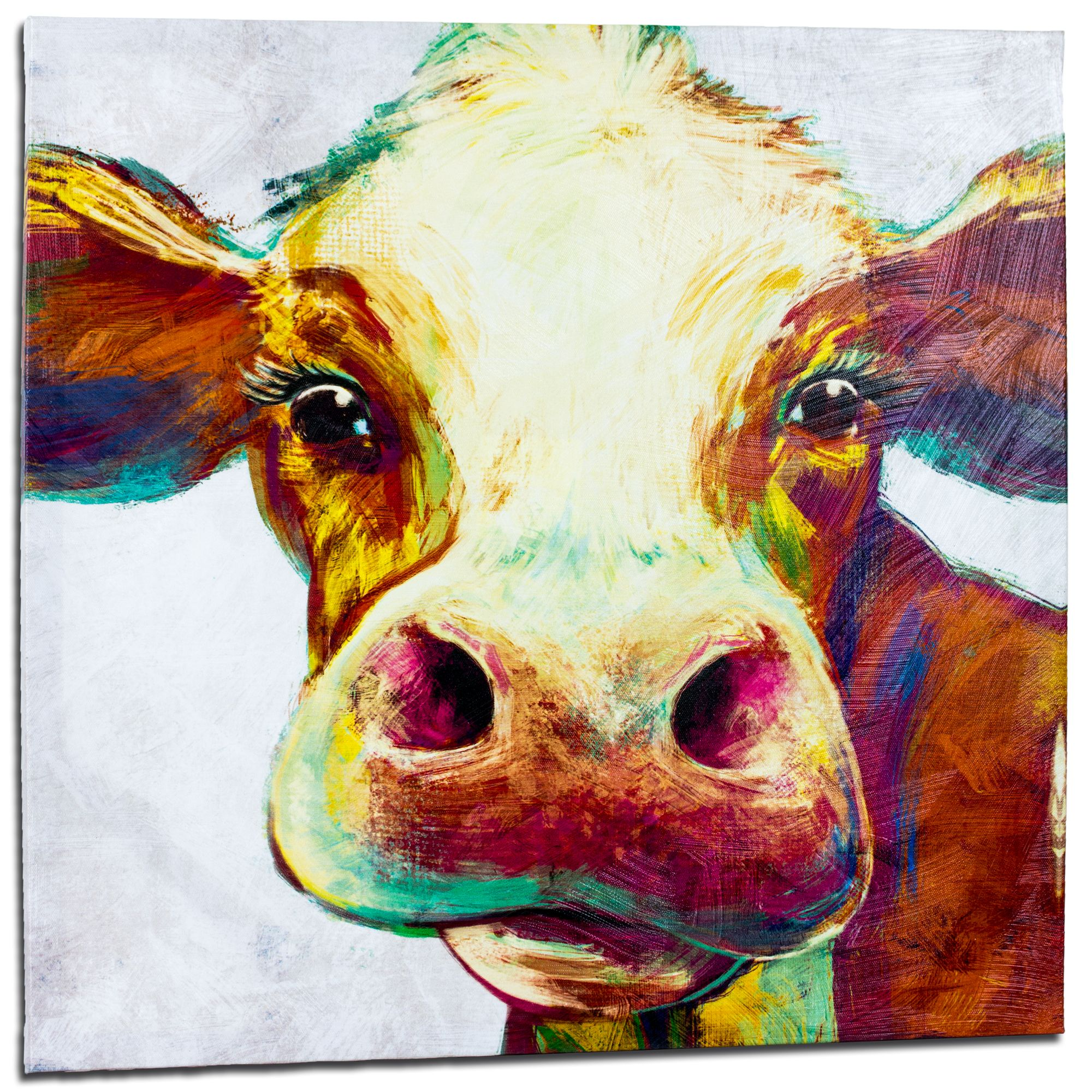 Crystal art cow wrapped canvas painting print wall art