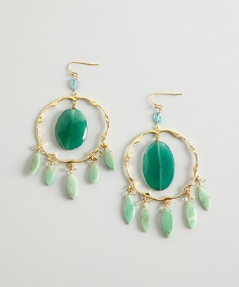 style #319682701 gold and chrysoprase 'Dakota' round chandelier hoop earrings