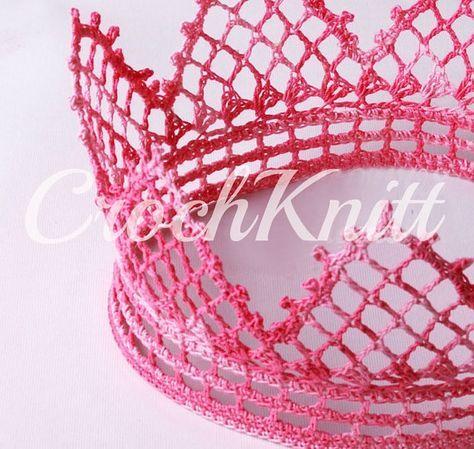 Items similar to handmade Crochet Crown, Crochet Tiara, Crochet Princess tiara, Crochet Crown for Princesses, princess tiara, princess crown on Etsy #crownscrocheted