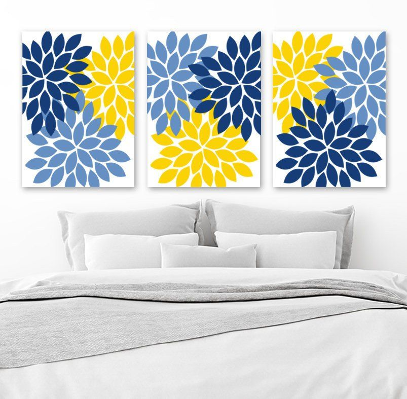 Blue And Yellow Wall Decor Inspirational Flower Wall Art Navy Blue