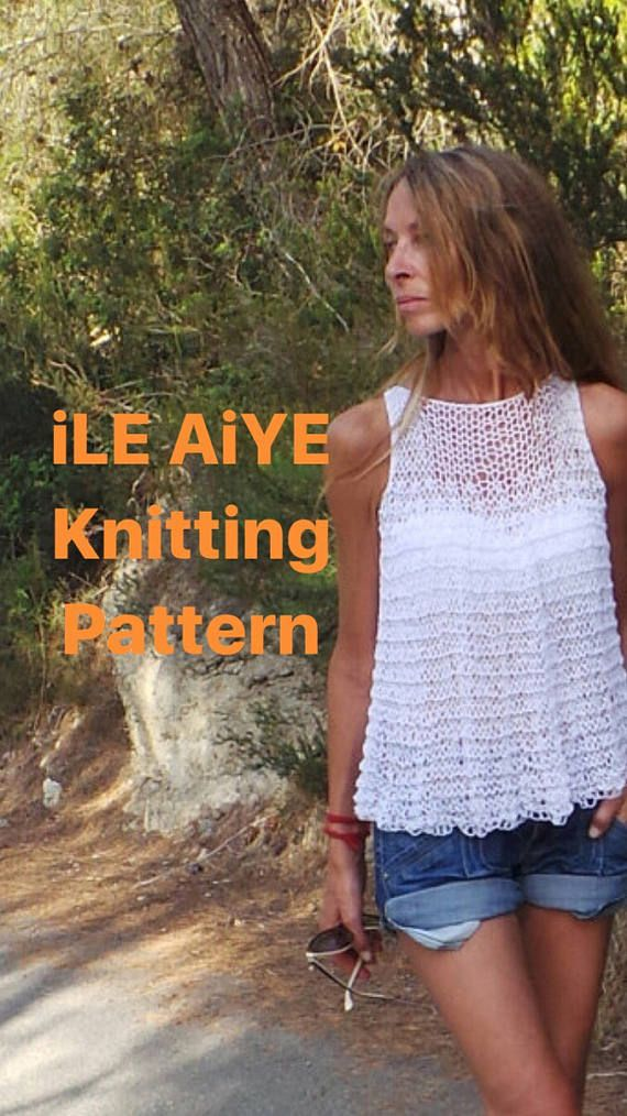 Knitting Pattern Tank Top Loose Knit Blouse Tunic Cotton