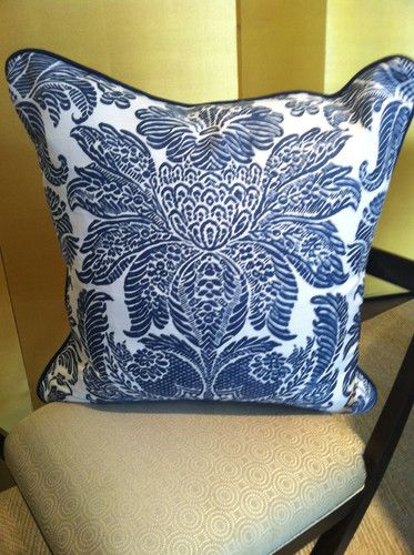 """Bennison """"Lorenzo"""" pattern pillow in Indigo & Oyster Linen. The back side is white linen and it has an indigo welt cord. Down insert.  $415 each"""