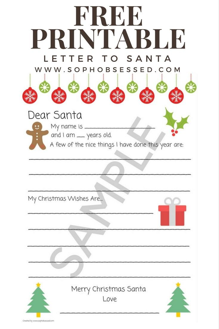 Letter To Santa  Free Christmas Printable  Free Printable Santa