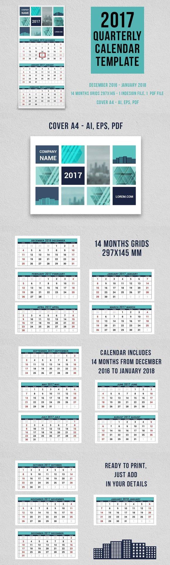2017 Quarterly Calendar Template Stationery Templates 1000