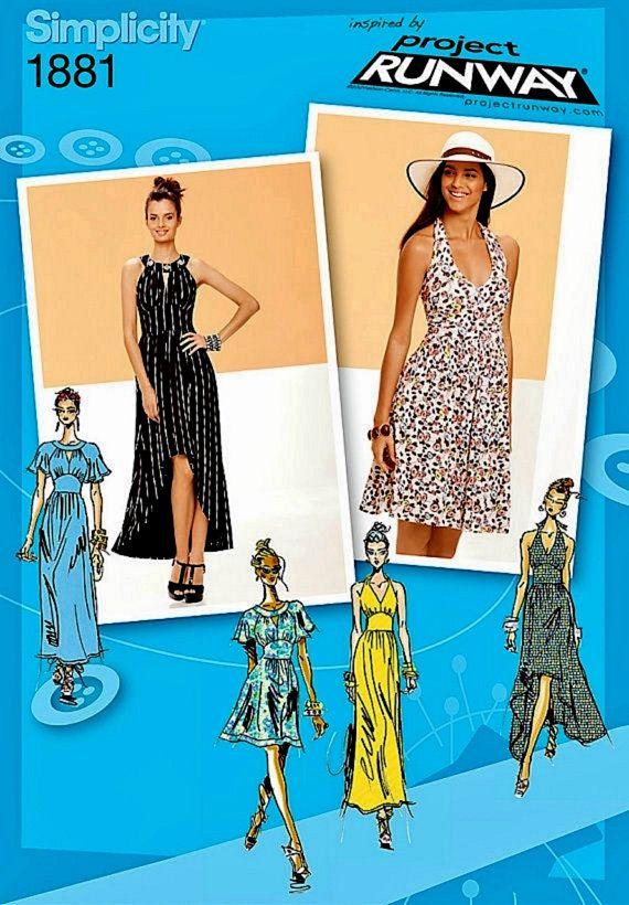 Halter Top Dress Pattern, Knit Dress Pattern, High Low Dress Pattern ...