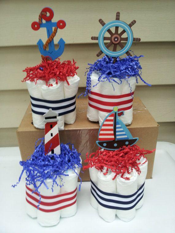 4 Nautical Theme Mini Diaper Cakes, Baby Shower Centerpiece
