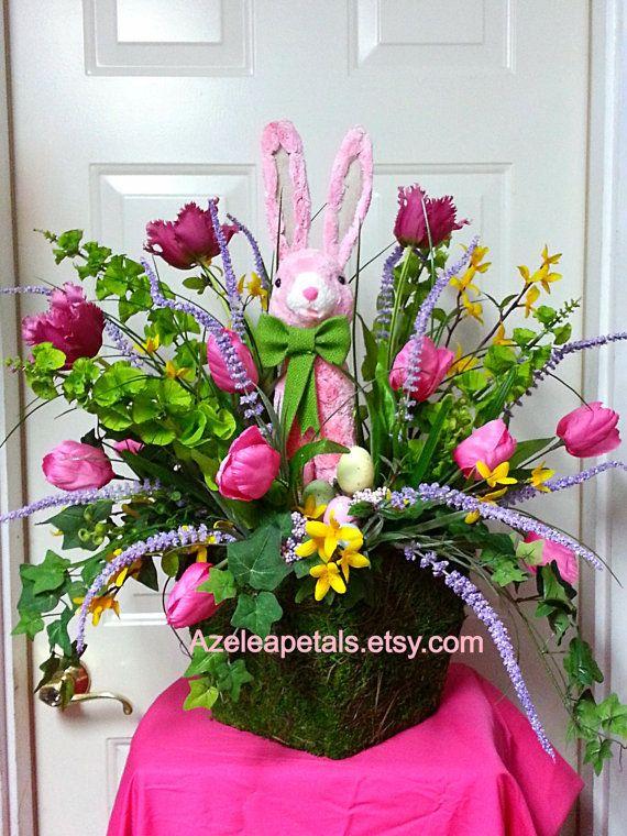 RAZ Easter Bunny Arrangement Spring Floral Holiday Decoration Centerpiece