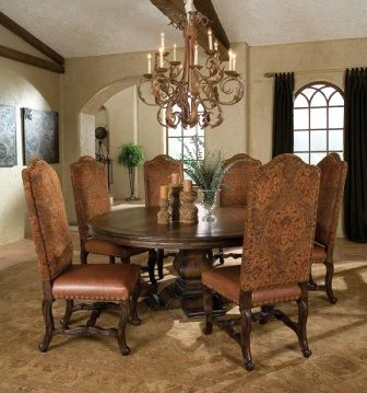 Tuscan Old World 54  Round Pedestal Dining Table and 6 Chairs Solid Wood    Round pedestal dining table  Pedestal dining table and Solid wood. Tuscan Old World 54  Round Pedestal Dining Table and 6 Chairs