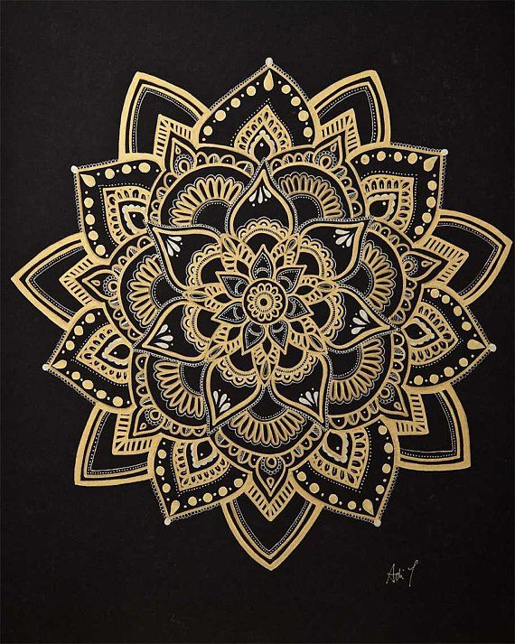 Mandala Art / Gold Mandala / Wall Art/ Flower Mandala / Meditation Symbol / Handmade by Adi / 16x20