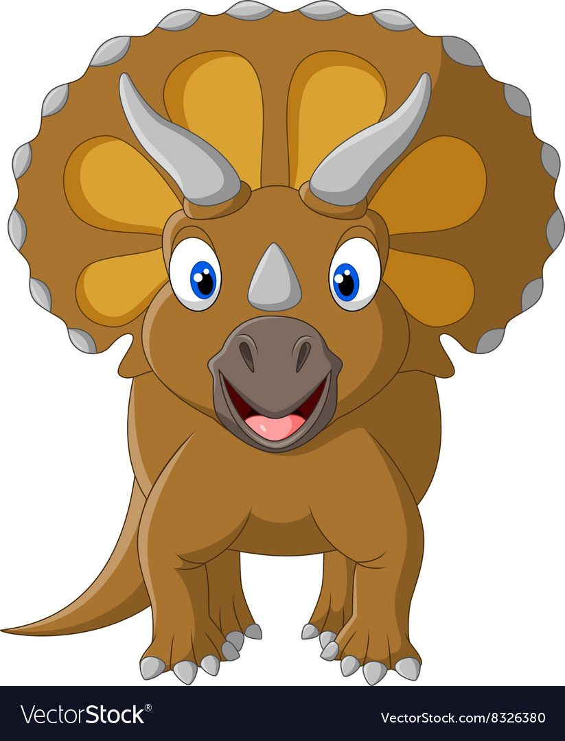 Cute Triceratops Three Horned Vector Clipart