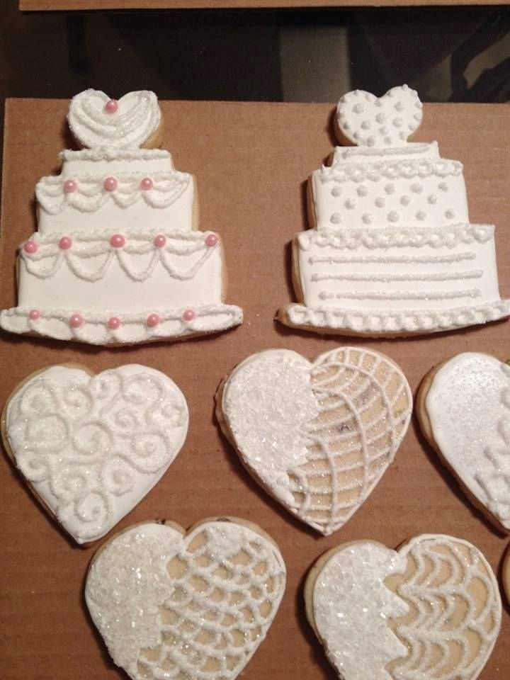 Wedding Cake Cookies Along With Heart Shaped Cookies Wedding Cake Cookies Cookie Decorating Wedding Cookies