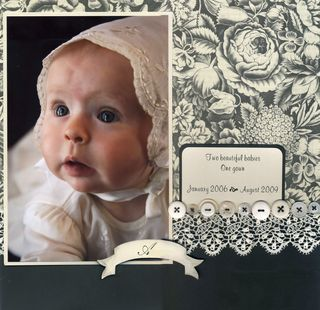Anna Griffin scrapbook page - nice use of black and white paper with soft muted colors in the photograph.