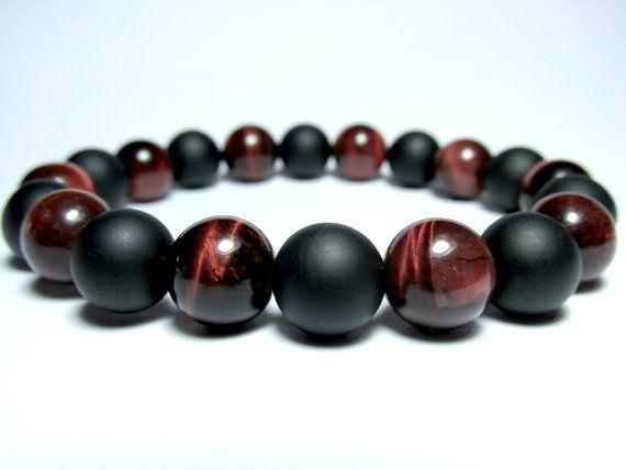 Mens Beaded Bracelet and Onyx Bracelet Lava Red Tigers Eye Bracelet for Man