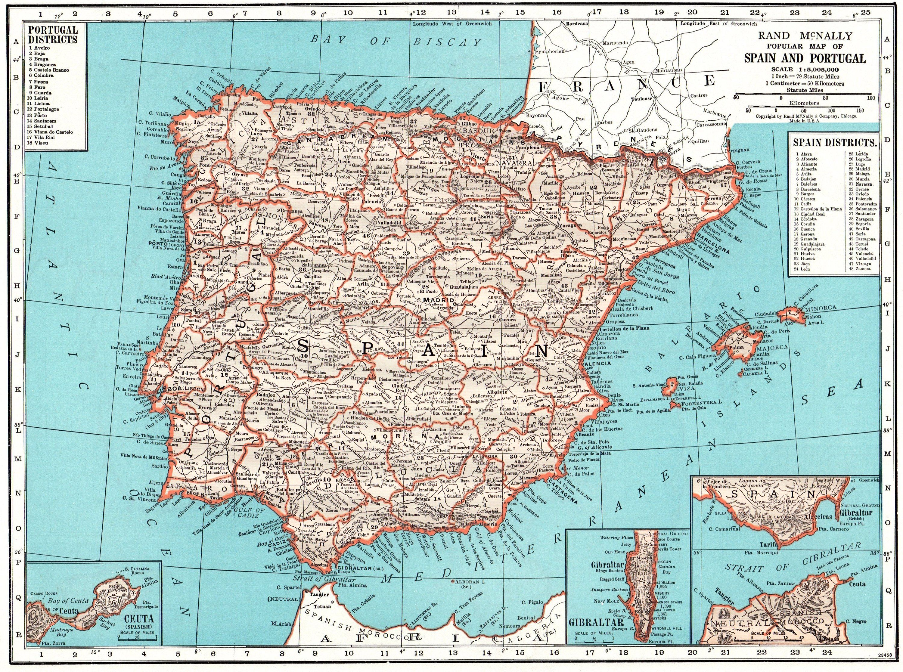 Travel Map Of Spain.1949 Vintage Spain Map Antique Map Of Spain And Portugal Travel